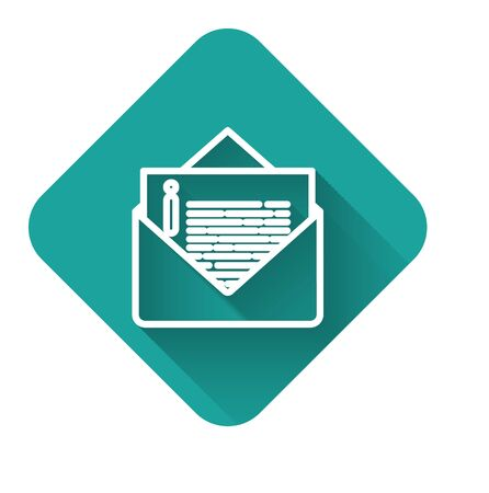 White line Envelope icon isolated with long shadow. Email message letter symbol. Green square button. Vector Illustration 일러스트