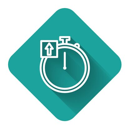 White line Stopwatch icon isolated with long shadow. Time timer sign. Chronometer sign. Green square button. Vector Illustration  イラスト・ベクター素材