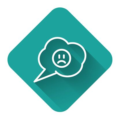 White line Speech bubble with sad smile icon isolated with long shadow. Emoticon face. Green square button. Vector Illustration