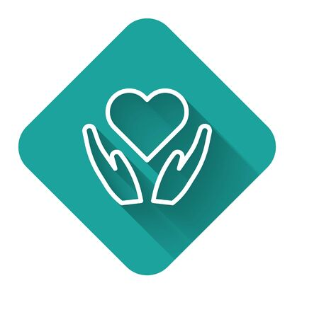 White line Heart on hand icon isolated with long shadow. Hand giving love symbol. Valentines day symbol. Green square button. Vector Illustration
