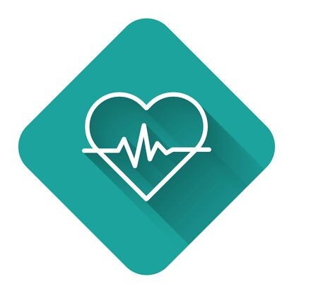 White line Heart rate icon isolated with long shadow. Heartbeat sign. Heart pulse icon. Cardiogram icon. Green square button. Vector Illustration