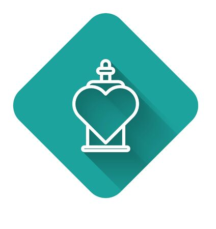 White line Bottle with love potion icon isolated with long shadow. Valentines day symbol. Green square button. Vector Illustration