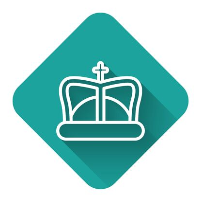 White line King crown icon isolated with long shadow. Green square button. Vector Illustration
