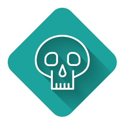 White line Skull icon isolated with long shadow. Green square button. Vector Illustration