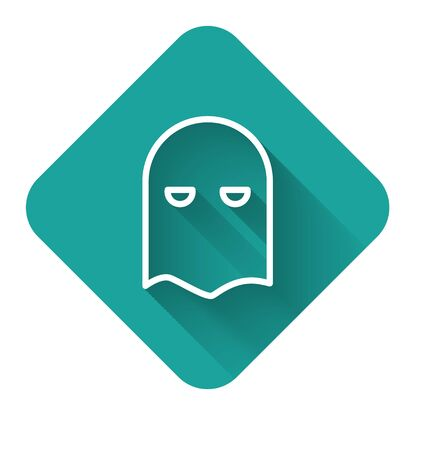 White line Executioner mask icon isolated with long shadow. Hangman, torturer, executor, tormentor, butcher, headsman icon. Green square button. Vector Illustration