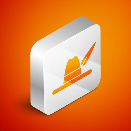 Isometric Oktoberfest hat icon isolated on orange background. Hunter hat with feather. German hat. Silver square button. Vector Illustration Ilustracja