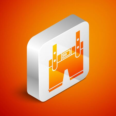 Isometric Lederhosen icon isolated on orange background. Traditional bavarian clothing. Oktoberfest outfit. Pants with suspenders. Patrick day. Silver square button. Vector Illustration