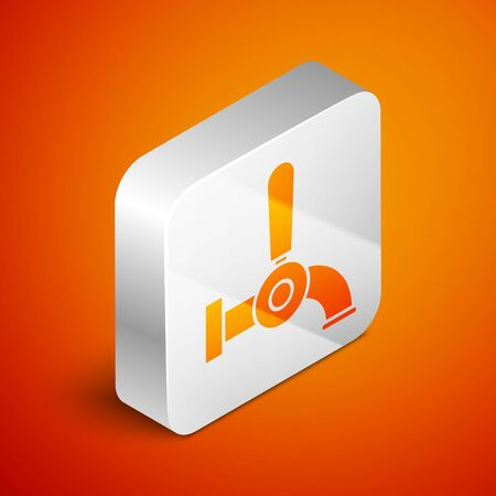 Isometric Beer tap icon isolated on orange background. Silver square button. Vector Illustration