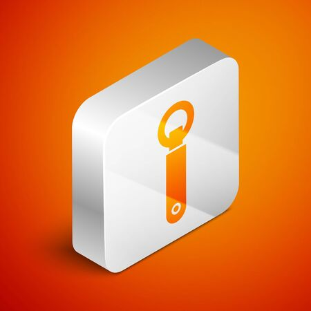 Isometric Bottle opener icon isolated on orange background. Silver square button. Vector Illustration