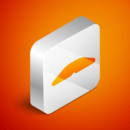 Isometric Homemade pie icon isolated on orange background. Silver square button. Vector Illustration