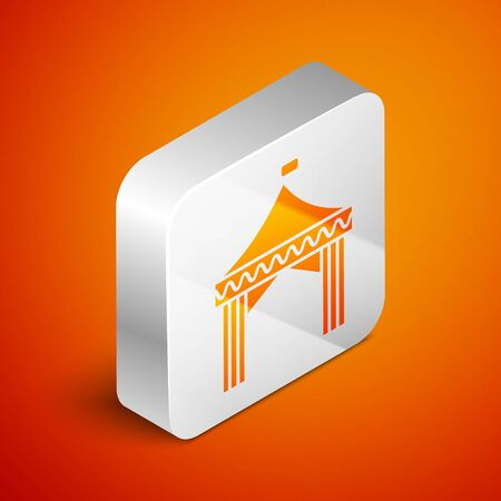 Isometric Camping tent icon isolated on orange background. Carnival camping tent. Amusement park. Silver square button. Vector Illustration