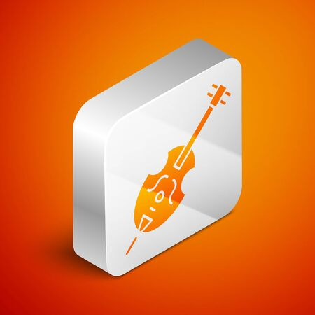 Isometric Violin icon isolated on orange background. Musical instrument. Silver square button. Vector Illustration