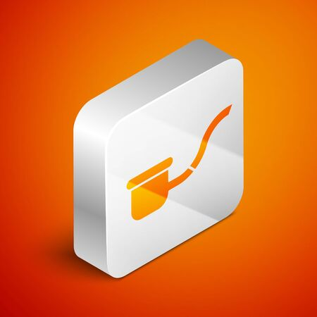 Isometric Smoking pipe with smoke icon isolated on orange background. Tobacco pipe. Silver square button. Vector Illustration Ilustracja