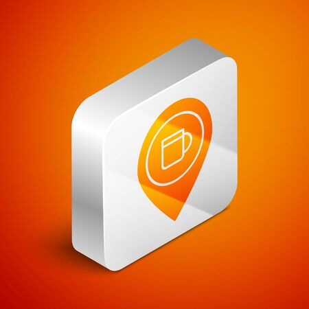 Isometric Alcohol or beer bar location icon isolated on orange background. Symbol of drinking, pub, club, bar. Silver square button. Vector Illustration Illusztráció