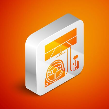 Isometric Racing simulator cockpit icon isolated on orange background. Gaming accessory. Gadget for driving simulation game. Silver square button. Vector Illustration