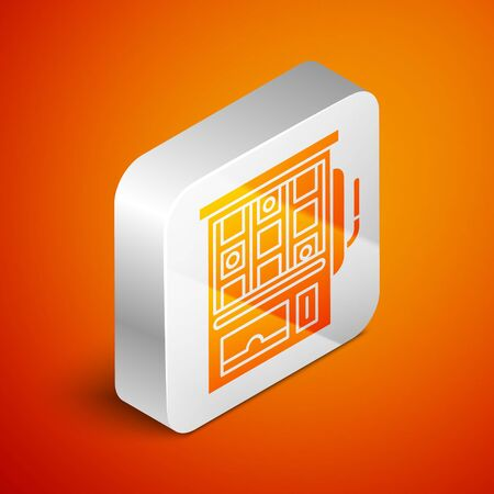 Isometric Slot machine icon isolated on orange background. Silver square button. Vector Illustration