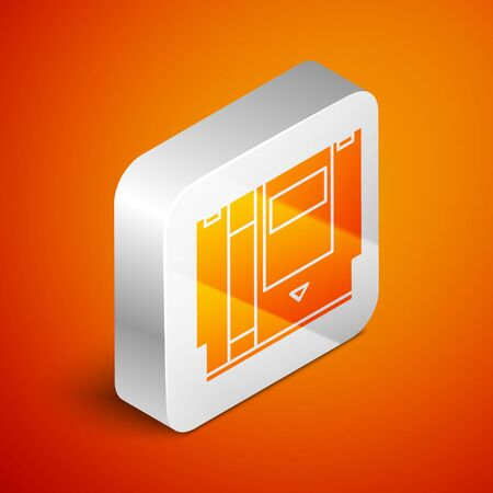 Isometric Cartridge for retro game console icon isolated on orange background. TV Game cartridge. Silver square button. Vector Illustration