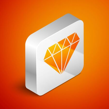 Isometric Diamond icon isolated on orange background. Jewelry symbol. Gem stone. Silver square button. Vector Illustration