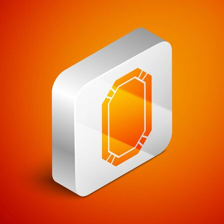 Isometric Poker table icon isolated on orange background. Silver square button. Vector Illustration