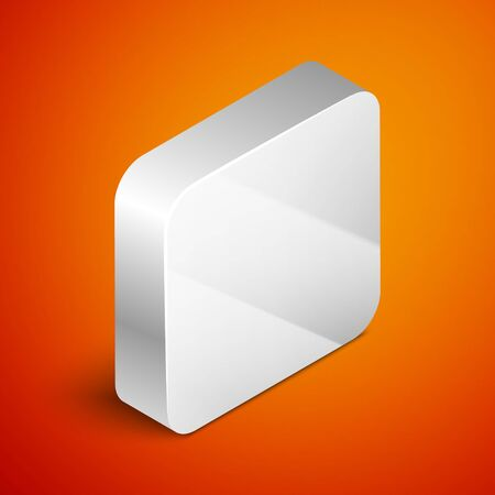 Isometric Chest for game icon isolated on orange background. Silver square button. Vector Illustration