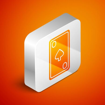 Isometric Playing card with diamonds symbol icon isolated on orange background. Casino gambling. Silver square button. Vector Illustration