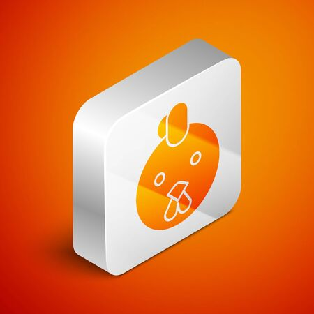 Isometric Rooster zodiac sign icon isolated on orange background. Astrological horoscope collection. Silver square button. Vector Illustration