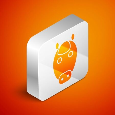 Isometric Horse zodiac sign icon isolated on orange background. Astrological horoscope collection. Silver square button. Vector Illustration