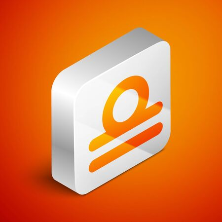 Isometric Libra zodiac sign icon isolated on orange background. Astrological horoscope collection. Silver square button. Vector Illustration