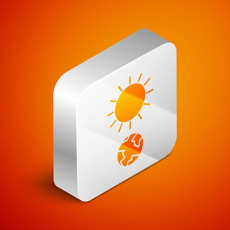 Isometric Solstice icon isolated on orange background. Silver square button. Vector Illustration