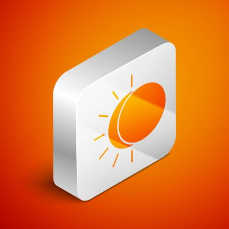 Isometric Eclipse of the sun icon isolated on orange background. Total sonar eclipse. Silver square button. Vector Illustration Stock Vector - 138462548