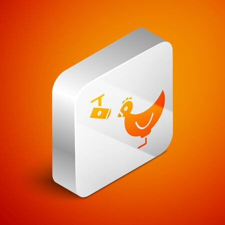 Isometric Chicken farm and wireless Controlling CCTV security camera icon isolated on orange background. Silver square button. Vector Illustration Ilustracja