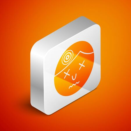 Isometric Man having headache, migraine icon isolated on orange background. Silver square button. Vector Illustration Ilustrace