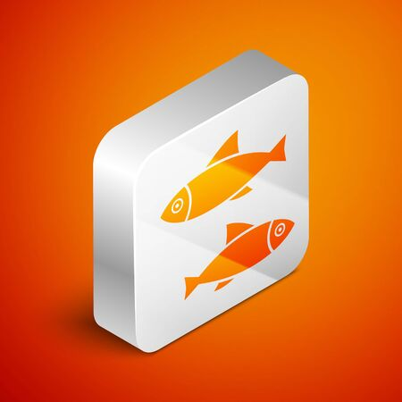 Isometric Fish icon isolated on orange background. Silver square button. Vector Illustration