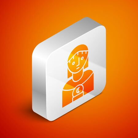 Isometric Astrology woman icon isolated on orange background. Silver square button. Vector Illustration Illustration