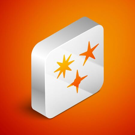 Isometric Falling star icon isolated on orange background. Meteoroid, meteorite, comet, asteroid, star icon. Silver square button. Vector Illustration