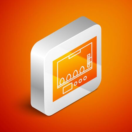 Isometric Incubator for eggs icon isolated on orange background. Silver square button. Vector Illustration