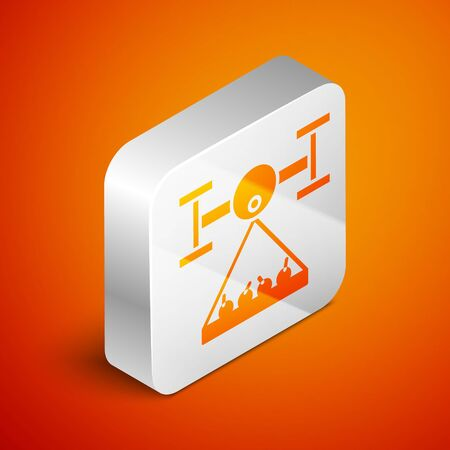 Isometric Smart farm with drone control collects harvest icon isolated on orange background. Innovation technology for agricultural company. Silver square button. Vector Illustration Illustration