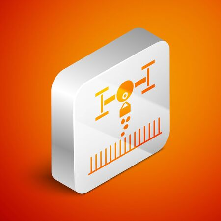 Isometric Smart farm with drone control for seed planting icon isolated on orange background. Innovation technology for agricultural company. Silver square button. Vector Illustration Illustration