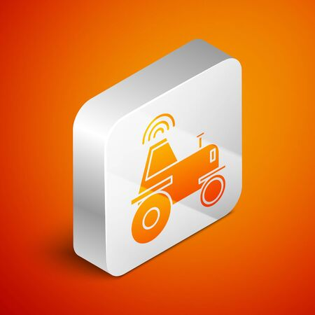 Isometric Self driving wireless tractor on a smart farm icon isolated on orange background. Smart agriculture implement element. Silver square button. Vector Illustration
