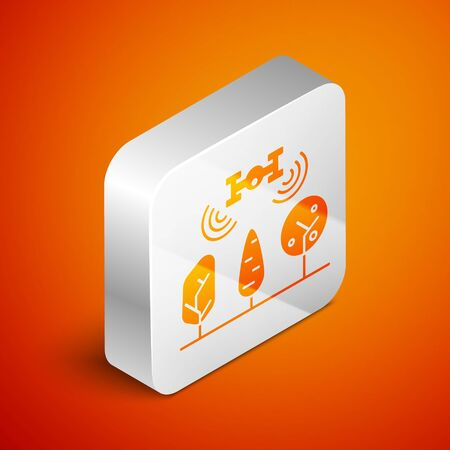 Isometric Smart farm with drone control and tree icon isolated on orange background. Innovation technology for agricultural company. Silver square button. Vector Illustration