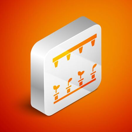 Isometric Automatic irrigation sprinklers icon isolated on orange background. Watering equipment. Garden element. Spray gun icon. Silver square button. Vector Illustration Archivio Fotografico - 138462736