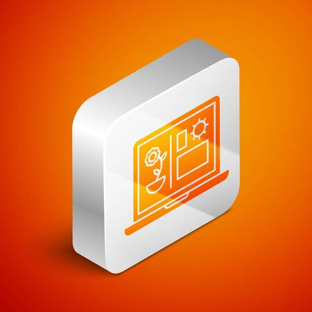 Isometric Smart farming technology - farm automation system icon isolated on orange background. Silver square button. Vector Illustration