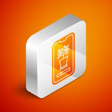 Isometric Smart control farming system mobile application icon isolated on orange background. Silver square button. Vector Illustration Illustration