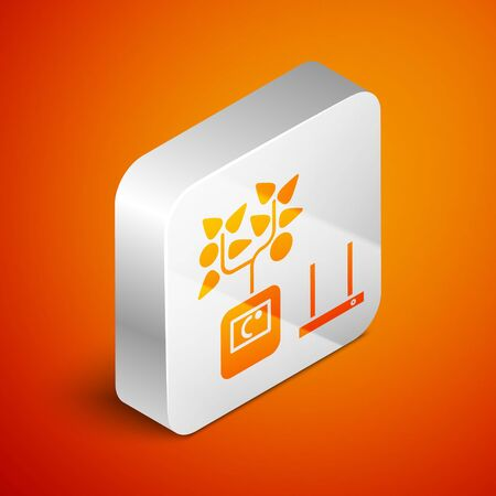 Isometric Smart farming technology - farm automation system in app icon isolated on orange background. Silver square button. Vector Illustration