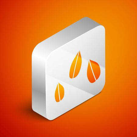 Isometric Sesame seeds icon isolated on orange background. Silver square button. Vector Illustration