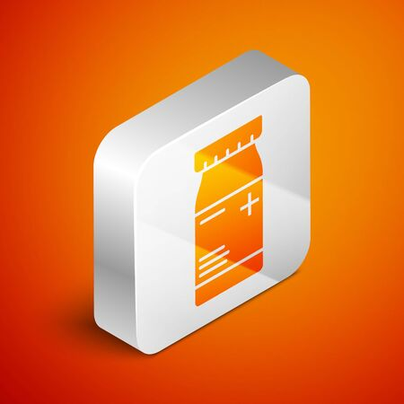 Isometric Medicine bottle and pills icon isolated on orange background. Bottle pill sign. Pharmacy design. Silver square button. Vector Illustration Ilustracja