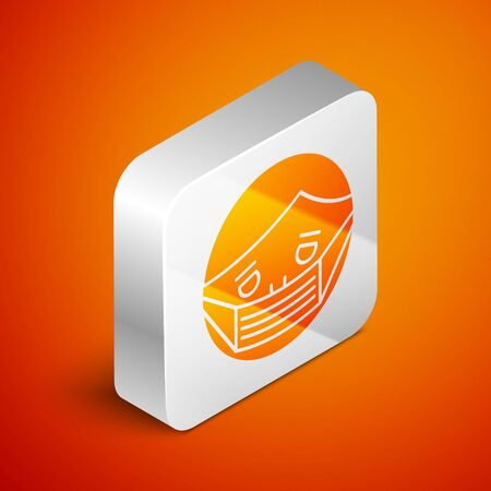Isometric Man face in a medical protective mask icon isolated on orange background. Quarantine. Silver square button. Vector Illustration Illusztráció