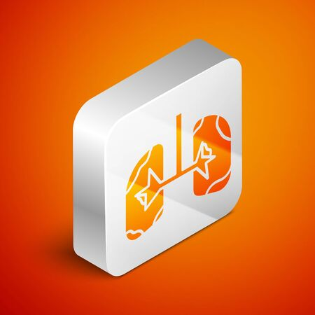 Isometric Lungs icon isolated on orange background. Silver square button. Vector Illustration Ilustracja