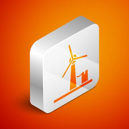 Isometric Wind turbine icon isolated on orange background. Wind generator sign. Windmill for electric power production. Silver square button. Vector Illustration