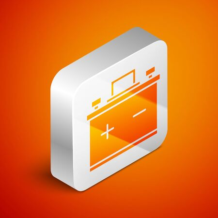 Isometric Car battery icon isolated on orange background. Accumulator battery energy power and electricity accumulator battery. Silver square button. Vector Illustration